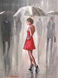 PETE-RUMNEY-FINE-ART-MODERN-ACRYLIC-OIL-PAINTING-BUY-ORIGINAL-RED-DRESS-RAIN-NEW