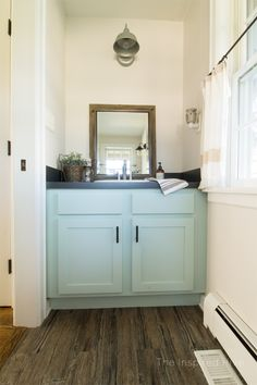 For a Bathroom Budget friendly peel and stick wood plank floors. Affordably update your floor! Budget Bathroom, Bathroom Renovations, Small Bathroom, Bathroom Ideas, Bathroom Makeovers, Bath Ideas, Wood Plank Flooring, Restroom Remodel, Farm House Colors