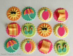 Fondant Pool/ Beach Cupcake Toppers Sun by SweetToppersbyDari, $28.00 Pool Cupcakes, Fondant Cupcakes, Beach Theme Cupcakes, Pool Party Cakes, Pool Cake, Fondant Toppers, Themed Cupcakes, Cupcake Party, Cupcake Ideas