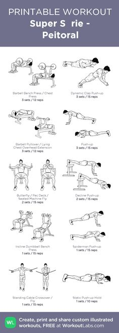 Super Série - Peitoral:my visual workout created at WorkoutLabs.com • Click through to customize and download as a FREE PDF! #customworkout