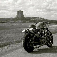 Harley sportster cafe bike on the road. Vintage Motorcycles, Custom Motorcycles, Custom Bikes, Cafe Bike, Motorcycle Style, Classic Motorcycle, Motorcycle Garage, Harley Davidson Sportster, Cafe Racers