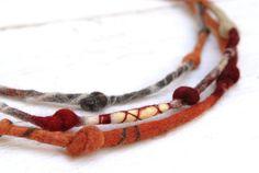 Fiber Necklace with Knots  Multi Strand Felt Necklace  by odpaam, $45.00