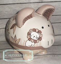 Unavailable Listing on Etsy Pig Bank, Penny Bank, Personalized Piggy Bank, Diy And Crafts, Arts And Crafts, Cute Piggies, Doodle Drawings, Clay Art, Creative Inspiration