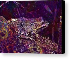 Frog Water Frog Animal Frog Pond Canvas Print / Canvas Art by PixBreak Art Abstract Canvas, Great Artists, Pond, Greeting Cards, Tapestry, Art Prints, Water, Painting, Animals