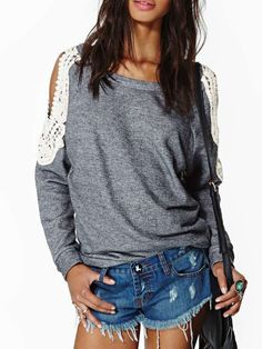 Grey Off the Shoulder Lace Loose Sweatshirt 14.67