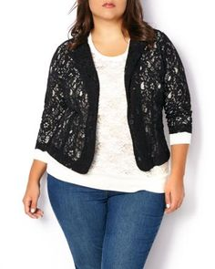 Long Sleeve Lace Cardigan | Penningtons | Top your party outfits in style with this chic plus-size cardigan. Features a delicate allover lace overlay, one-button closure and long sleeves. Wear it over a sleeveless dress for a flawless and feminine look!