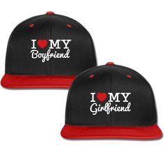 89e48ec5c0b56 I Love My Boyfriend gf couple matching snapback cap