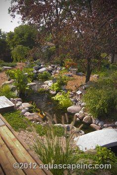 Water garden with footbridge