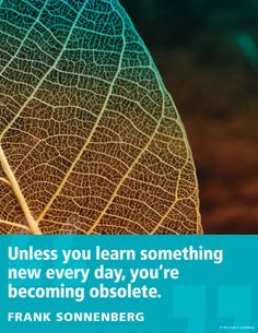 """Unless you learn something new every day, you're becoming obsolete"" ~ Frank Sonnenberg   www.FrankSonnenbergOnline.com"