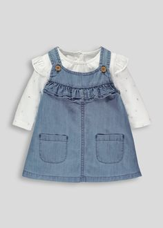Girls chambray denim pinafore with frill detail and two pockets. T-shirt has frill shoulders and floral print with popper opening to back neck.