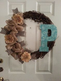 burlap wicker wreath by PrettyTreats on Etsy, $80.00