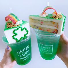 st patrick's day cake slices + donuts + cake popsicles + lemonade available in store this fri - sun ONLY ! Cute Desserts, Delicious Desserts, Yummy Food, St. Patrick's Day, Sweet Recipes, Snack Recipes, Kawaii Dessert, Weird Food, Food Goals