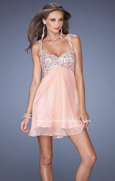 2014 Sweetheart-Neck Apricot Beaded La Femme 19666 Open-Back Short Bodice Prom Dresses