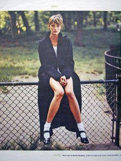 Linda by Juergen Teller, 1993 wearing MM wool coat #Juergenteller #woolcoat #simplicity