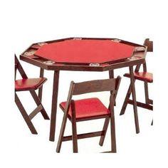 Kestell Furniture Folding Poker Table Upholstery: Green Vinyl, Finish: Natural