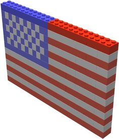 Lego Flag.  Fourth of July  Making this with Matthew