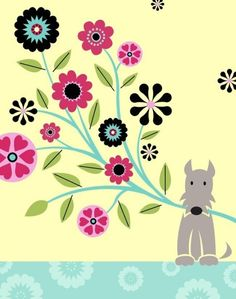 #schnauzer dog with bouquet