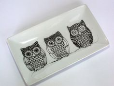 OWLS porcelain tray hand painted