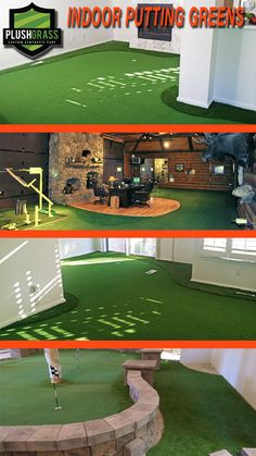 Artificial grass putting greens installed in living rooms, basements, and training facilities.