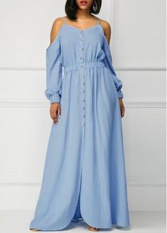 Blue Long Sleeve Off the Shoulder Maxi Dress, new sign up 15% off, check it out.