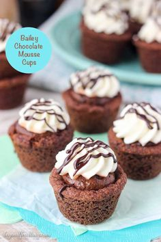 These Baileys Mousse Cookie Cups start with a chocolate pudding cookie. They're filled with a silky Baileys Chocolate Mousse and topped with whipped cream and a Baileys chocolate ganache. ~ Beyond Frosting