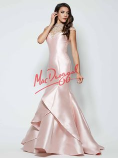 Mac Duggal tiered skirt mermaid prom dress with intricate high neckline and amazing back