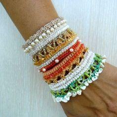 Bracelet Cuff, Crochet Bracelet Cuff Freeform, Glass Beads, Sea Glass, Beige, Cream, Light Green, Orange by SvetlanaCrochet on Etsy https://www.etsy.com/listing/246264055/bracelet-cuff-crochet-bracelet-cuff