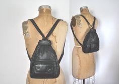 Leather Backpack / black Bookbag by badbabyvintage on Etsy