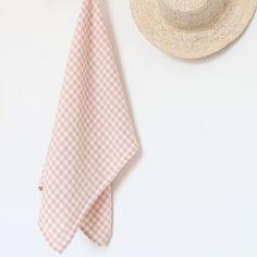 Torchon en lin lavé vichy rose et blanc linge particulier