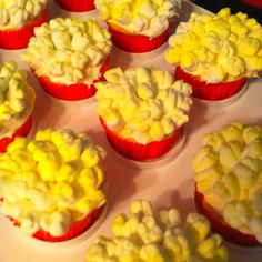 "Popcorn Cupcakes!   Bake cupcakes, then ice, cut an ""x"" in one end of the mini marshmallows and they puff out like popcorn, place on the cupcakes with the cup end up, and then spray with yellow edible spray paint (available at Michaels, or cake stores!) super easy and cute!  Probably taste not great but cute for a theme party"