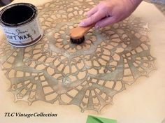 How To Stencil with Dark Soft Wax by Annie Sloan | By Stockist, TLC Vintage Collection of Des Moines, IA