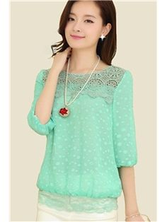 8676cd8991 Beauty Luxury Design Lace Hollow Out Round Neck Half Lantern Sleeve Patch  Work Solid Color Chiffon Blouses