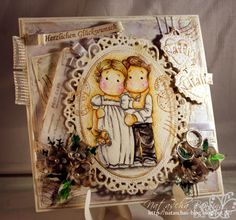 Wedding card using the lovely couple from Magnolia and digital papers by Bearly Mine Designs