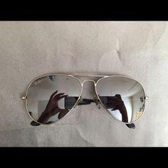 Silver flash aviators Excellent condition size 58 Ray-Ban Accessories Sunglasses