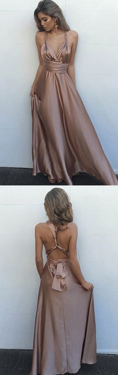 Prom Dresses,Prom Gowns,Long Prom Dresses,Gowns Prom,Prom Dresses Long,Evening Dresses for Girls,Party Dresses for Women,Popular Simple Blush Long Criss-Cross Straps V-Neck Prom Dress With Pleats,SVD406