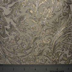@Valerie Best Baroque Metallic Brocade Fabric Off White Silver Gold