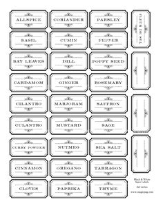 Black and White Spice and Herb Labels Set digital collage sheet 300dpi 2x1 25mm x 50mm for kitchen Victorian basil bay leaves cumin dill. $3.00, via Etsy.