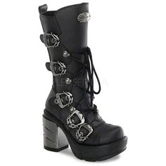 SINISTER-203 Plaform Boots with Chromed Heel ($120) ❤ liked on Polyvore featuring shoes and boots