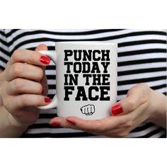 Vulgar Coffee Mug Funny Vulgar Mug Punch Today in the Face Mug Mature... ($12) ❤ liked on Polyvore featuring home, kitchen & dining, drinkware, drink & barware, grey, home & living, mugs, face mug, handmade coffee mugs and gray coffee mugs