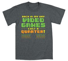 Back in My Day Video Games 8 Bit 80 s Retro Gamer Arcade Novelty Mens T Shirt | eBay