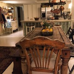 There's nothing like a kitchen that sparkles. I ❤️ this farmhouse space. Goat Milk, Dining Table, Rustic, Sparkles, Kitchens, Farmhouse, Furniture, Space, Home Decor