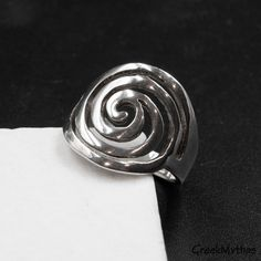 Large Sterling Silver Spiral Ring, Unisex Infinity Symbol Statement Ring, Handmade Greek Jewelry #etsy #infinity #silver #unisexadults #freeform #greecejewelry #mensjewelry #unisexring #spiralring #spiraljewelry Photo Jewelry, Jewelry Art, Art Necklaces, Greek Jewelry, Infinity Symbol, Geometric Necklace, Leaf Earrings, Statement Rings, Spiral