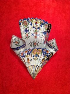 Antique-French-Faience-Desvres-Tripple-Wall-Pocket-Vase-c-1867-1887