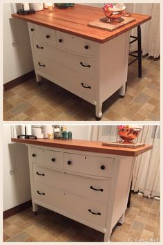 kitchen island made from old dresser with home-made butcher block top