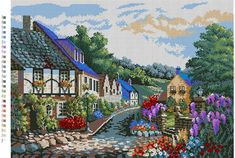 DIY big picture Bead Embroidery Kit Needlepoint Beading Cottage