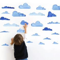 Cloud Wall Stickers kids Diy wall art  Seamless pattern Modern Nordic style home decoration accessories Blue watercolor bathroom-in Wall Stickers from Home & Garden on Aliexpress.com | Alibaba Group