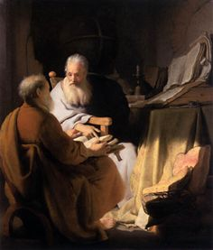 """Rembrandt, """"Two Scholars Disputing"""", 1628, oil on panel, 72 x 60 cm, National Gallery of Victoria, Melbourne."""