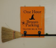Broom Parking Halloween Sign Wood, orange paint, graphics, trace paper, black paint, 2 hooks, hanging implement.