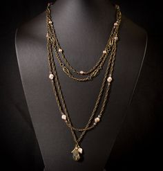 Art Deco Inspired Chain Necklace by HutaPearlJewelry on Etsy