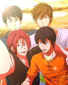 Rin's taking a selfie with his buddies. XP I bet Haru's looking at some water over to the left there. XP